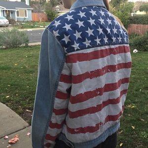 🇱🇷 American flag denim jean jacket size